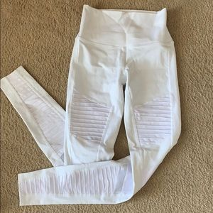 ALO white moto yoga pants